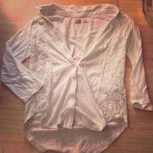 Hollister Button up Lace top